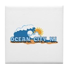 Ocean City NJ - Waves Design Tile Coaster