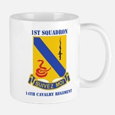DUI - 1st Sqdrn - 14th Cavalry Regt with Text Mug