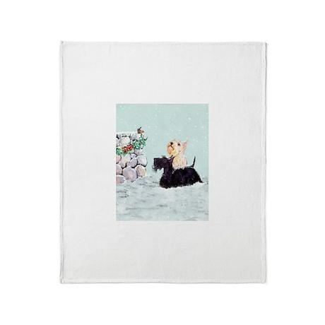 Scotties and Wren Winter Throw Blanket