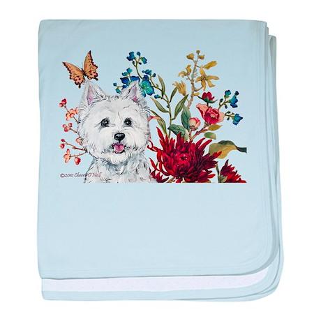 Westie Terrier in the Garden baby blanket