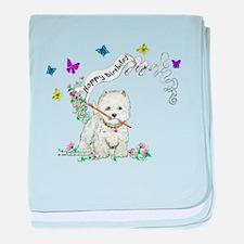 Birthday Dog Westie Terrier baby blanket