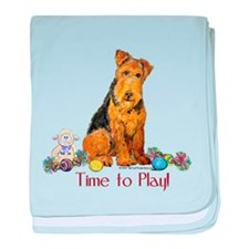 Time to Play Airedale! baby blanket
