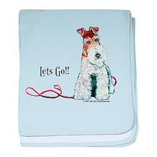Fox Terrier Walk baby blanket