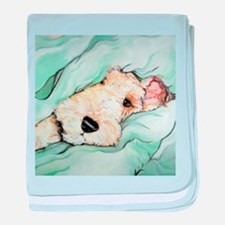 Napping Wire Fox Terrier baby blanket