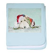 Fox Terrier Christmas baby blanket