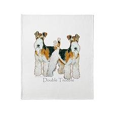Double Trouble Wire Fox Terri Throw Blanket