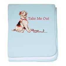 Wire Fox Terrier Dog Walk baby blanket