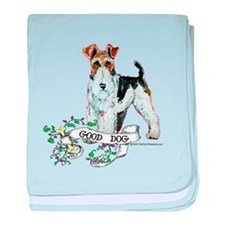 Fox Terrier Good Dog baby blanket