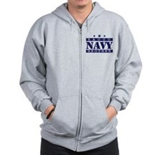 Proud Navy Brother Zip Hoodie