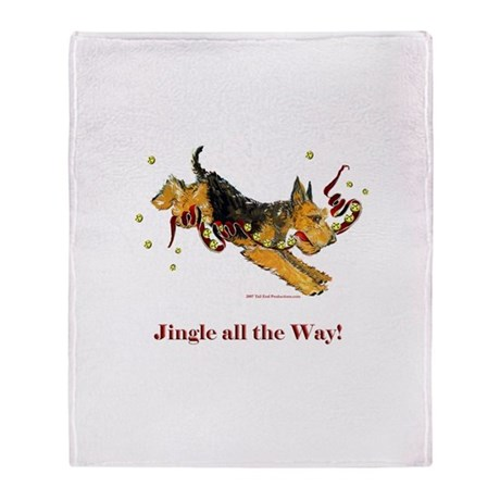 Welsh Terrier Holiday Dog! Throw Blanket