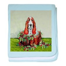 Christmas Basset Holiday Dog baby blanket