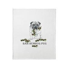 Christmas Pug Holiday Dog Throw Blanket