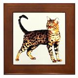 Cat coffee clock Framed Tiles