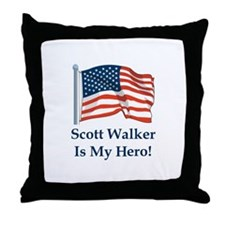 Scott Walker is my hero! Throw Pillow