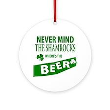St Patrick Irish Wheres Beer Ornament (Round)