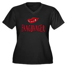 Cute Fangbanger Women's Plus Size V-Neck Dark T-Shirt