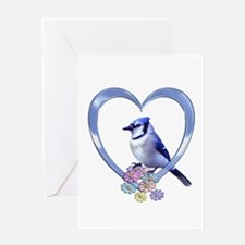 Blue Jay in Heart Greeting Card