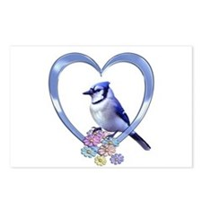 Blue Jay in Heart Postcards (Package of 8)