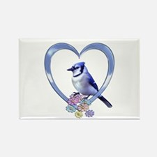 Blue Jay in Heart Rectangle Magnet