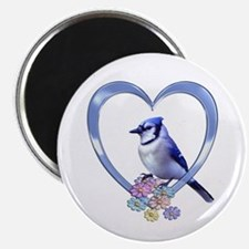 "Blue Jay in Heart 2.25"" Magnet (10 pack)"