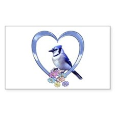 Blue Jay in Heart Decal
