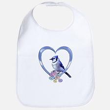 Blue Jay in Heart Bib