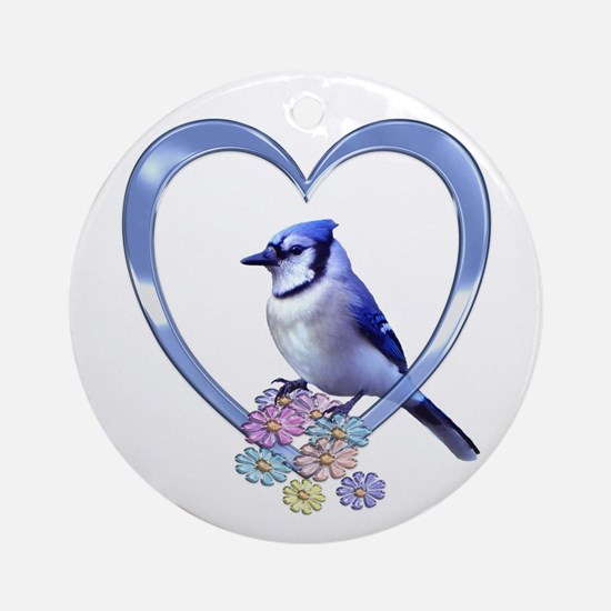 Blue Jay in Heart Ornament (Round)