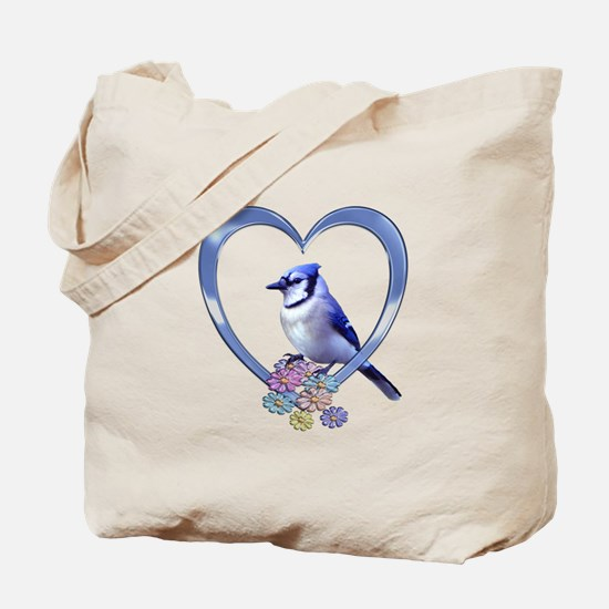 Blue Jay in Heart Tote Bag