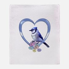 Blue Jay in Heart Throw Blanket