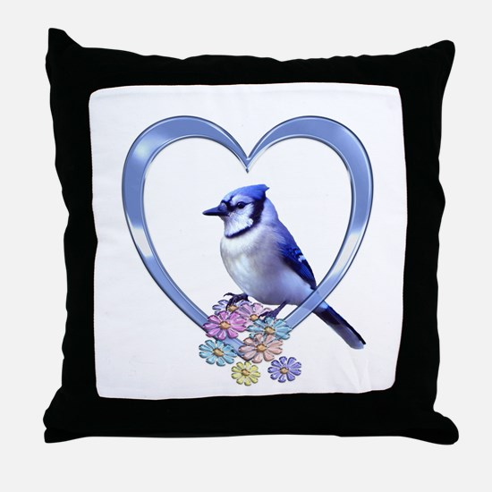 Blue Jay in Heart Throw Pillow