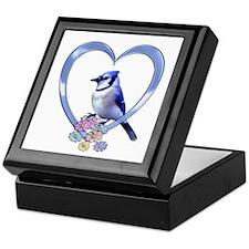 Blue Jay in Heart Keepsake Box