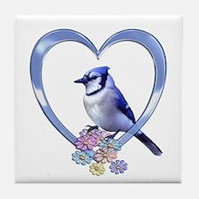 Blue Jay in Heart Tile Coaster