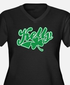 Kelly Irish Shamrock Women's Plus Size V-Neck Dark