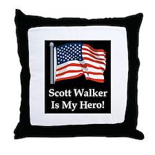 Scott Walker is my hero! Throw Pillow