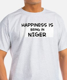 Happiness is Niger Ash Grey T-Shirt