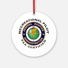 FAA Certified Recreational Pilot Ornament (Round)
