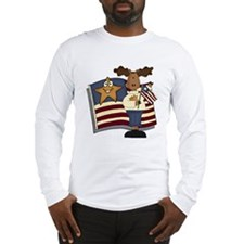 Patriotic Moose Long Sleeve T-Shirt