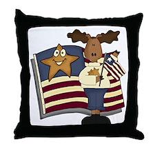 Patriotic Moose Throw Pillow