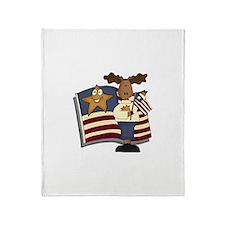 Patriotic Moose Throw Blanket