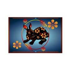 Black Designed Rabbit Rectangle Magnet (100 pack)