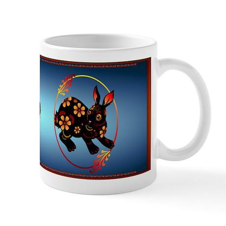 Black Designed Rabbit Mug