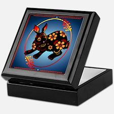 Black Designed Rabbit Keepsake Box