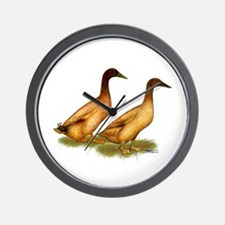 Khaki Campbell Duck Pair Wall Clock