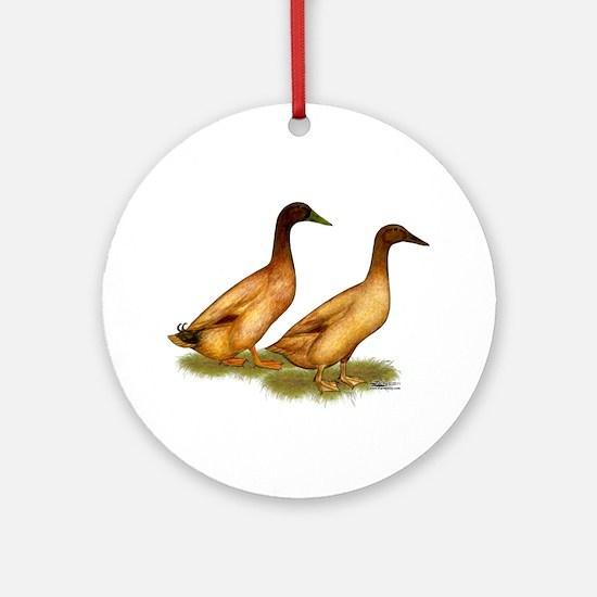 Khaki Campbell Duck Pair Ornament (Round)