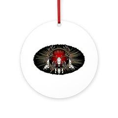 European skull mount,red Ornament (Round)