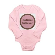 Believer Long Sleeve Infant Bodysuit (pink+brown)