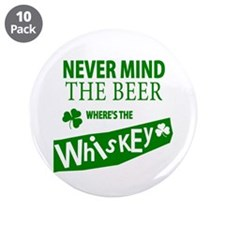 """St Patricks Wheres the Whisky 3.5"""" Button (10 pack"""