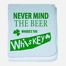St Patricks Wheres the Whisky baby blanket