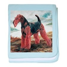 Airdale Terrier by the Lake baby blanket