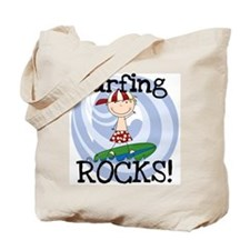 Boy Surfing Rocks Tote Bag